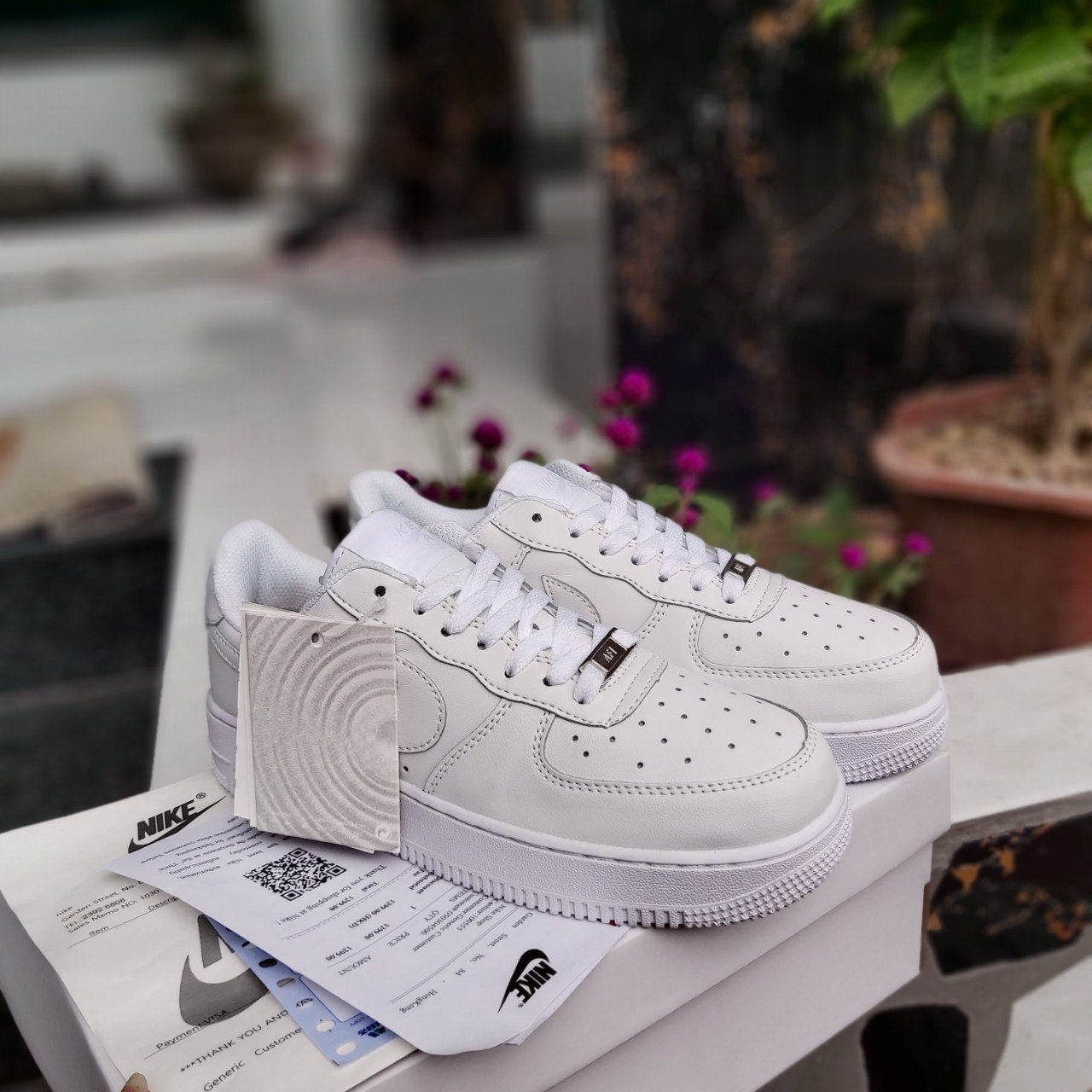 Giay The Thao Air Force 1 Low GS Triple White 3