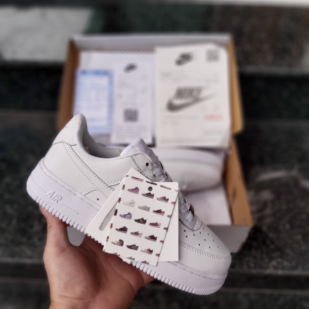 Giày Thể Thao Air Force 1 Low GS Triple White Nam || Nữ