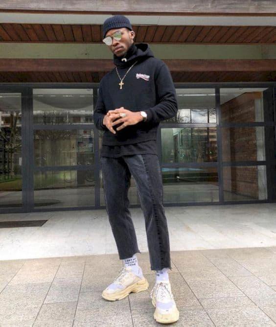 Áo Hoodie đen + Quần Jean đen pha màu