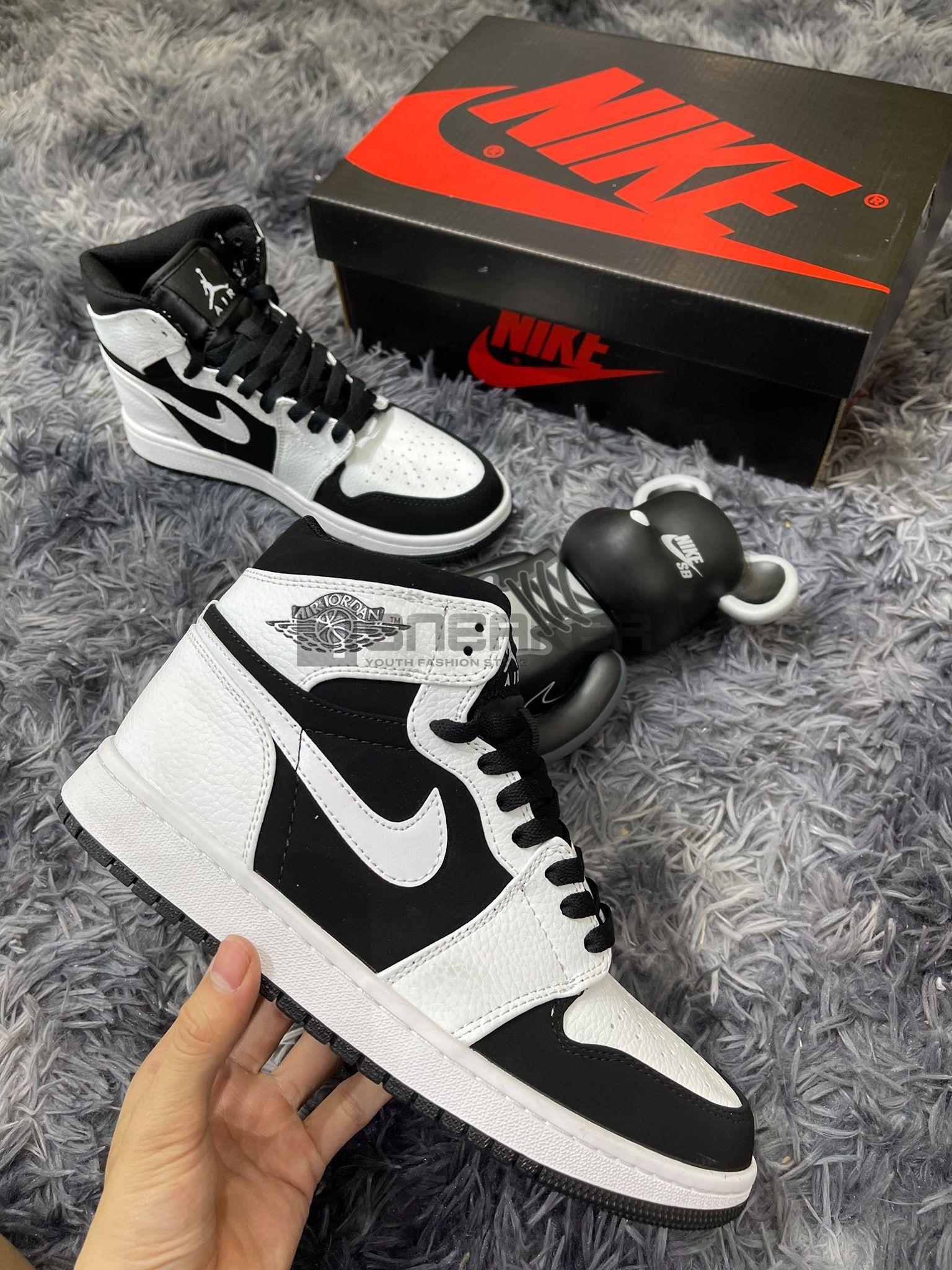 Nike Air Jordan1 Trắng Đen Cổ Cao