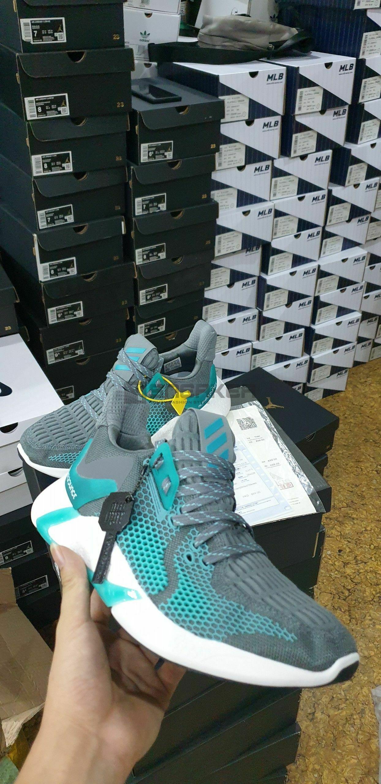 Mặt hông Giày Adidas Alphabounce Instinct M Xanh Xám