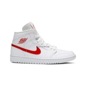 Air Jordan 1 Mid White University Red 1