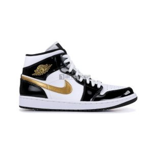Nike Air Jordan 1 Mid GS black Gold 1