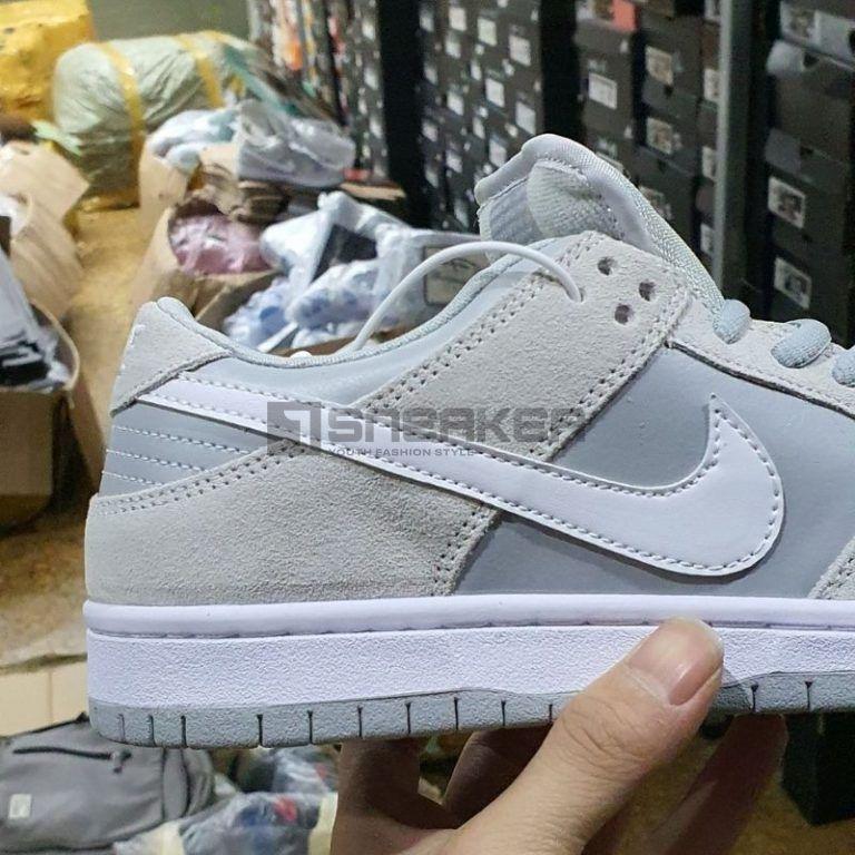 Nike SB Dunk Low Summit White Wolf Grey cận cảnh viền