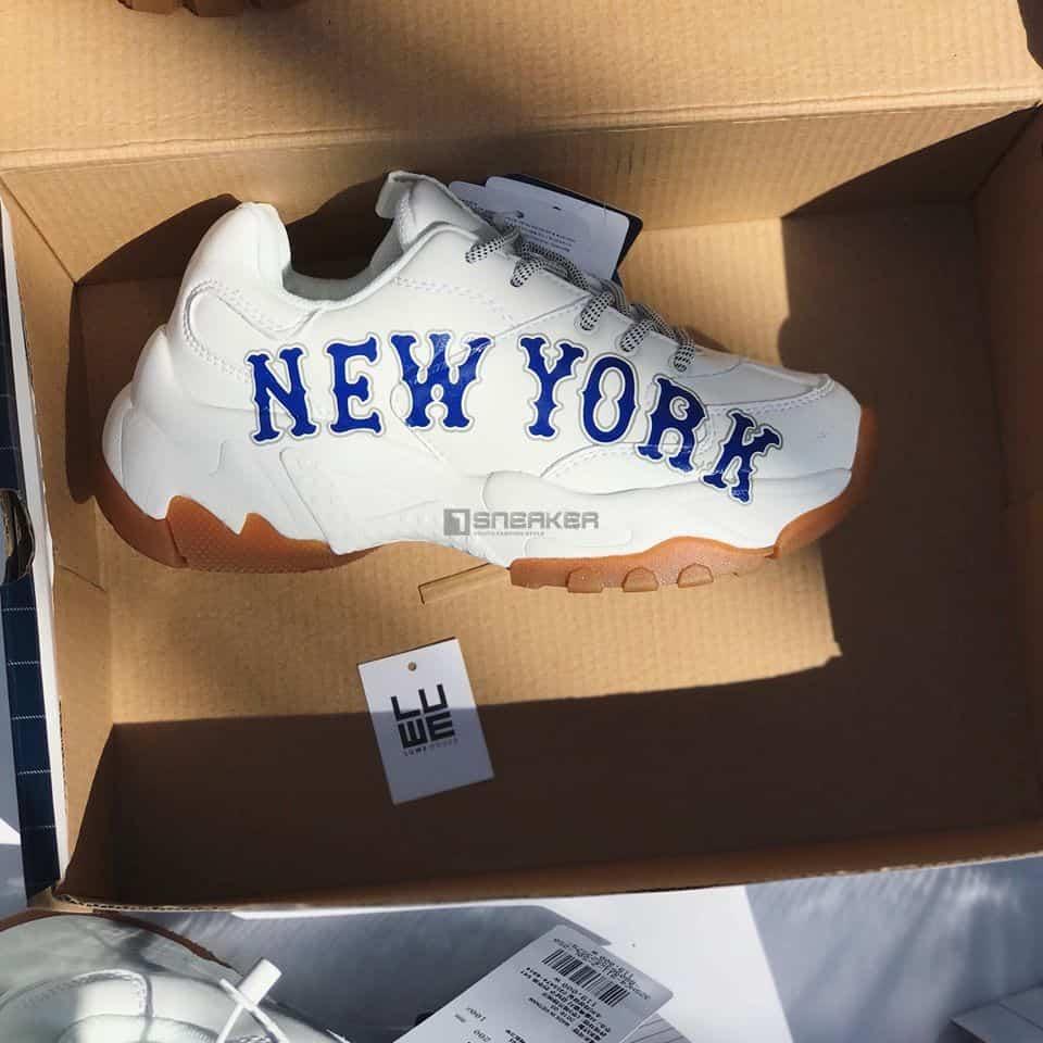 Giày MLB New York trắng chữ xanh hàng rep 11 chuẩn giá rẻ