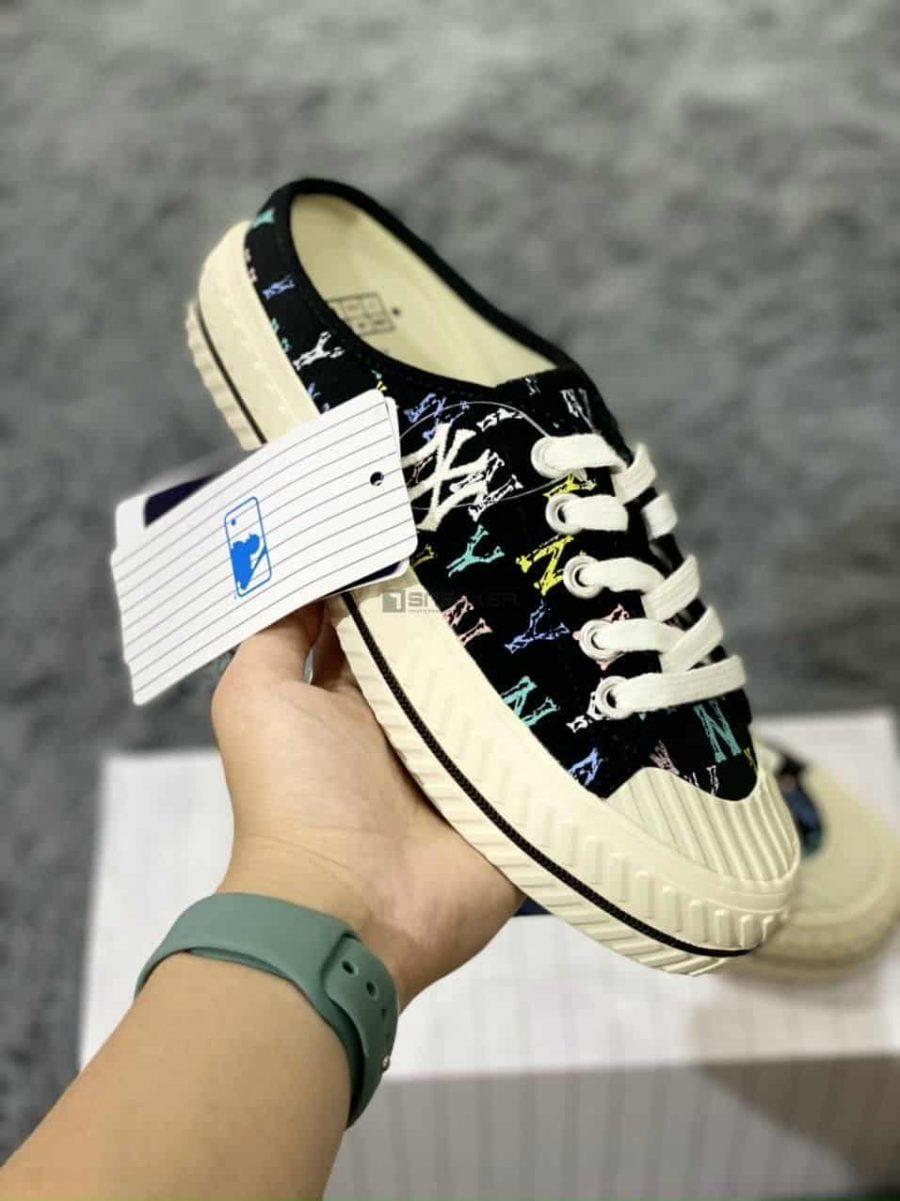 Giày sục mlb ny đạp gót Đen Trắng với tag giày với cao giúp bạn thoải mái khi di chuyển